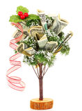 Money Christmas tree. With red ribbon isolated on white background Royalty Free Stock Images