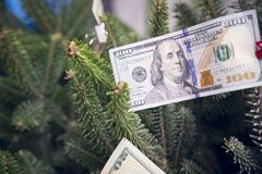 Money on a Christmas-tree. 100 dollar bill clipped to a Christmas-tree. New Year background. Close up Royalty Free Stock Photos