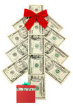 Money Christmas tree and gift. Money Christmas tree with white  background Stock Photography