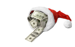 Money Christmas& Wealthy New Year-2. Santa's hat with dollar banknotes on a white background Stock Images