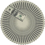 Money circle. Combined from hundred dollar banknotes on a white background stock illustration