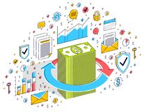 Money circulation, return on investment, currency exchange, cash stock images
