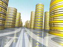 Money city. Composition of the stacks of coins and arrows royalty free illustration