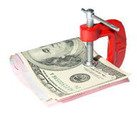 Money clamped in the clamp Royalty Free Stock Photo