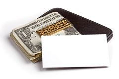 Money clip and business card Royalty Free Stock Photos