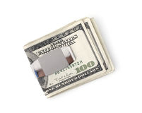 Money Clip. Isolated money clip with one hundred dollar bills Stock Photography