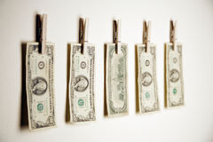 Money clipped to wall Royalty Free Stock Photography