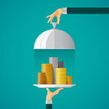 Money on cloche tray vector concept in flat style Royalty Free Stock Images