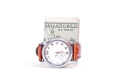 Money and clock Stock Photography