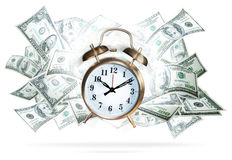 Money clock. A large bell alam clock ringing with a money background.  Concept for money and investments Royalty Free Stock Photography