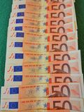 Money. Close-up of 50 Euro banknotes Royalty Free Stock Photography