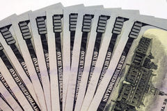 Money. Close view of one hundred dollar bills Stock Images