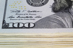 Money. Close view of one hundred dollar bills Stock Photography