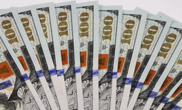 Money. Close view of one hundred dollar bills Stock Photos