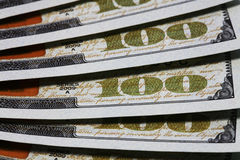 Money. Close view of one hundred dollar bills Royalty Free Stock Image