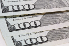 Money. Close view of one hundred dollar bills Royalty Free Stock Photos