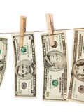 Money on clothes line isolated Stock Photos