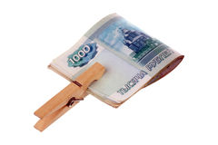 Money and clothespin Royalty Free Stock Photography
