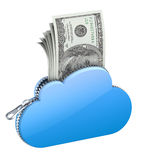 Money in the cloud. 3D concept with zipper, cloud and money Royalty Free Stock Image