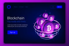 Bitcoin mining concept. Money cloud with motion neon blurry circles. Cryptocurrency, blockchain integration. Bitcoint payment, transaction or donation. Trendy Royalty Free Stock Photos