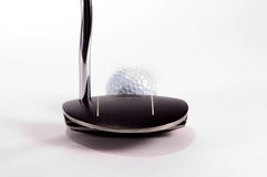 Money Club. Putter addressing golfball, often refered to as the money club Royalty Free Stock Photos