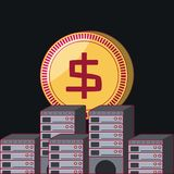 Money coin design. Money coin and data servers over black background, colorful design. vector illustration Stock Photo