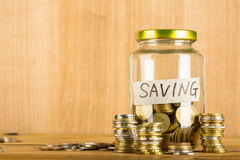 Money coin deposit of save money for prepare Royalty Free Stock Photos
