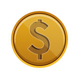 Money coin design. Gold money coins over white background. economy and financial item. vector illustration Stock Images