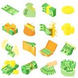 Money coin dollar icons set, isometric style. Money coin dollar icons set. Isometric illustration of 16 money coin dollar vector icons for web Royalty Free Illustration