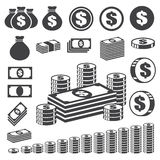 Money and coin icon set. Stock Photos