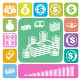 Money and coin icon set royalty free illustration