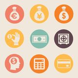 Money and coin icon set  illustration ΠStock Images