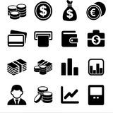 Money and coin icon set Vector illustration logo blacj. Money and coin icon set Vector illustration logo Royalty Free Stock Photography