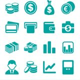 Money and coin icon set Vector illustration logo blue green. Money and coin icon set Vector illustration logo blunnn Royalty Free Stock Photo