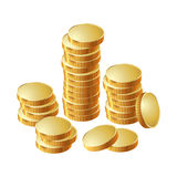 Money coin pile of gold. A stack of round gold coins. Vector illustration Stock Images