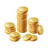 Money coin pile of gold. A stack of round gold coins. Vector illustration Royalty Free Stock Photos