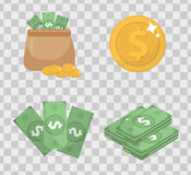 Money and coin set icons flat style, isolated on transparent background. Vector illustration. Royalty Free Stock Photography
