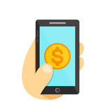 Money coin in smartphone concept. Phone in hand. Vector flat illustration icon. Isolated on white Royalty Free Stock Photos