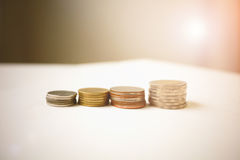 Money coin stack. Growing business, Saving money concept, Business growth concept Stock Photo
