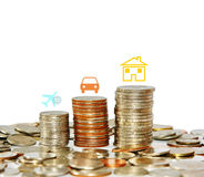Money coin stack growing graph with icon travel car and house is. Finance and save money concept, Money coin stack growing graph with icon travel car and house Royalty Free Stock Image