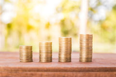 Money coin stack growing graph Royalty Free Stock Photo