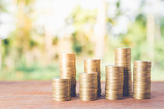 Money coin stack growing graph Royalty Free Stock Image