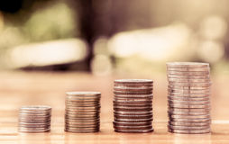 Money coin stack growing graph Stock Image