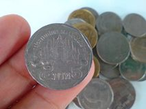 Money. Coin Thai fingers Stock Images