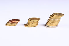 Money coins. Several isolated coins over white background Royalty Free Stock Images