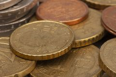 Money coins background. Euro coins with patina. Selective focus. Close-up royalty free stock photography