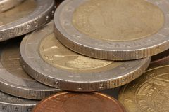 Money coins background. Euro coins with patina. Selective focus royalty free stock photo