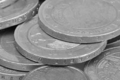 Money coins background. Euro coins with patina. Selective focus. Close-up Black and white image Black and white image stock images