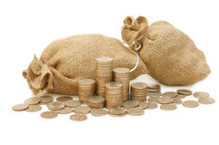 Money coins in bag Royalty Free Stock Photography