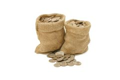 Money coins in bag Royalty Free Stock Image